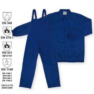 costum de protectie ignifug jacheta+pantalon cu pieptar